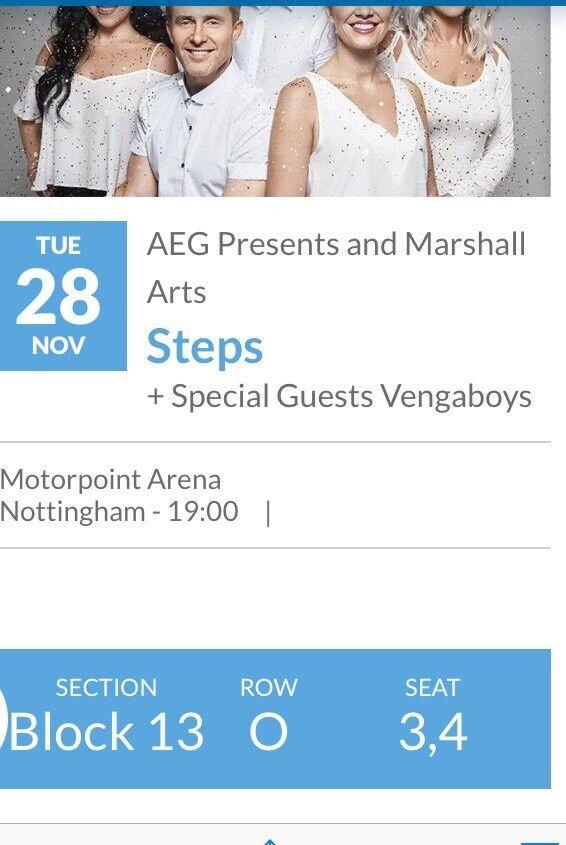 STEPS Concert Tickets x 2 Nottingham 28 November