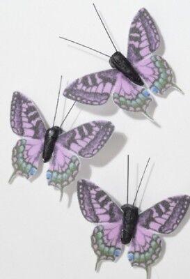 6 Stk Schmetterling mit Magnet 5cm violett pink grün Shabby Chic Fensterdeko