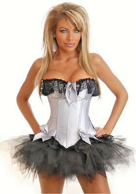 Silver Burlesque Costume (Womens Silver Corset Burlesque Fancy Dress Costume Size 12 -)