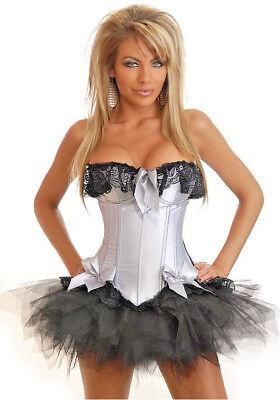 Womens Silver Corset Burlesque Fancy Dress Costume Size 12 - 14](Silver Burlesque Costume)