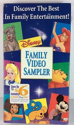 Disney Family Video Sampler Vhs Pooh Mickey Ariel Spot Alice Jungle Book New