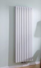 White Vertical Double Panel Middle Connection Designer Radiator 1600mm x 590mm, New..