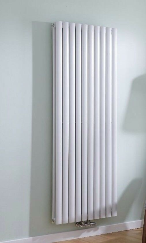 White Vertical Double Panel Middle Connection Designer Radiator 1600mm x 590mm