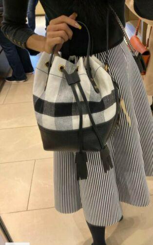 Nwt Burberry Heston check tote Medium tasseled crossbody bag White