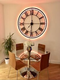 Dwell designer glass round dining table & chairs