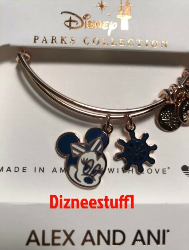 New Alex And Ani Disney Cruise Line Minnie Ship Wheel Rose Gold Bangle Bracelet