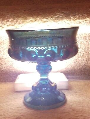 """Vintage Carnival Glass Blue, Compote Candy Dish """"Kings Crown"""" Pedestal 1804, EUC"""