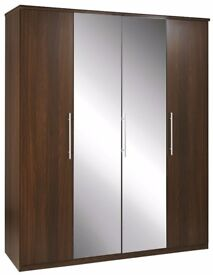Quality 4 Door Mirrored Wardrobe in Walnut NEW!!