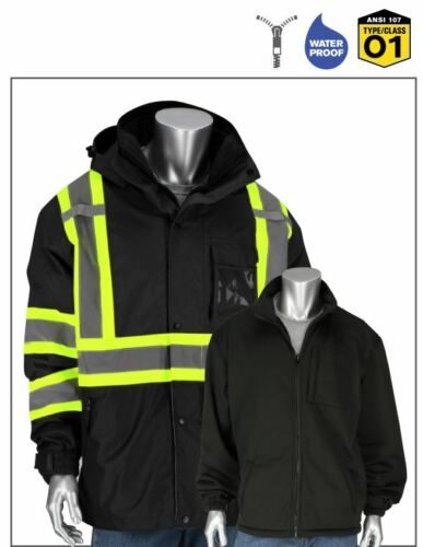 PIP Black Hi Vis 3 In 1  Ripstop Two Tone Jacket with Removable Fleece S-5XL