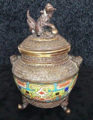 Vintage Japanese Bronze & Cloisonne Tripod Incense Burner Foo Dog