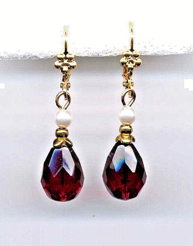 Bohemian GARNET TEARDROP crystal SEED PEARL Earrings 14K Gold gp *Vintage Czech