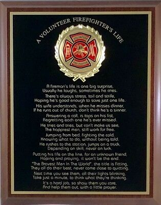 (A VOLUNTEER FIREFIGHTER'S / FIREMAN'S LIFE PLAQUE - Great Gift or Award !)