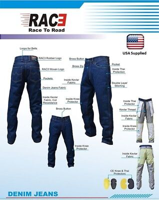 Blue Denim Motorcycle Pant (New RAC3 Motorcycle Motorbike Denim Jeans Trouser Protective Armored Lining Blue )