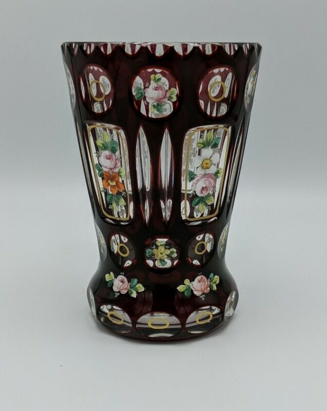 Vintage Bohemian Ruby Red Cut To Clear Hand Painted Blown Vase Tumbler