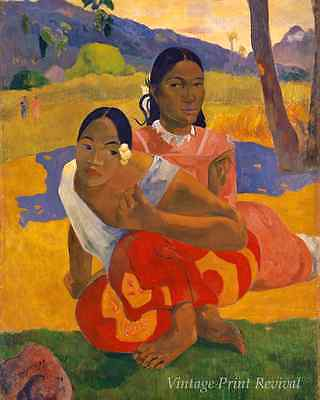 When Will You Marry? by Paul Gauguin - Island Girls Tahiti Grass 8x10 Print 1141
