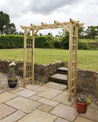 Wooden Garden Arch Archway Elegant Decorative Natural Wood Woodside 150x50x200cm
