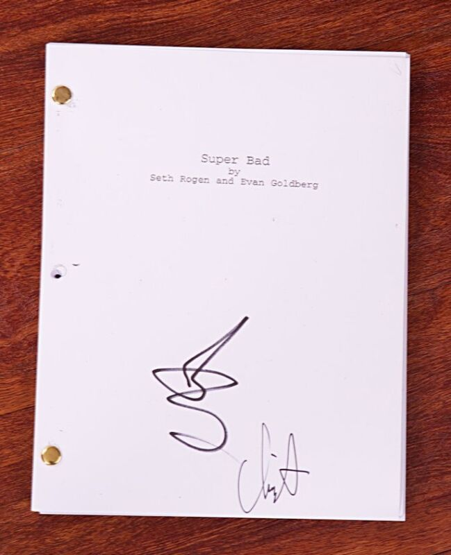 GFA Superbad  * CHRIS MINTZ-PLASSE & SETH ROGEN * Signed Movie Script AD1 COA
