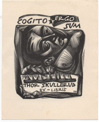 Wonderful 1930s Abstract Bookplate of Person Ex Libris Thor Skullerud