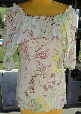 (Paisley Print  Neck Cape Stretchy Pleat Blouse From Pretty Angel Sz. S-L )