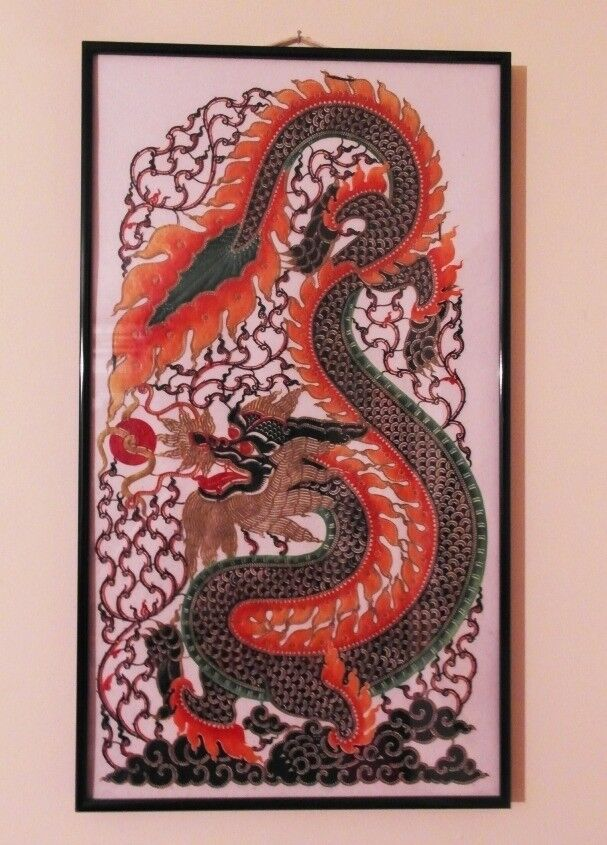 Oriental Antique hand Made Silk Dragon Painting Ready in Frame (NEW ...