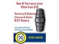 New and part worn tyres services brakes Batteries
