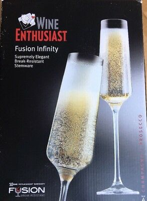 Wine Enthusiast 4 Set Fusion Infinity Chardonnay Chablis White Burgundy Glasses