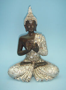 THAI BUDDHA STATUE SILVER COLOR PRAYING DECORATION FIGURE SCULPTURE ORNAMENT