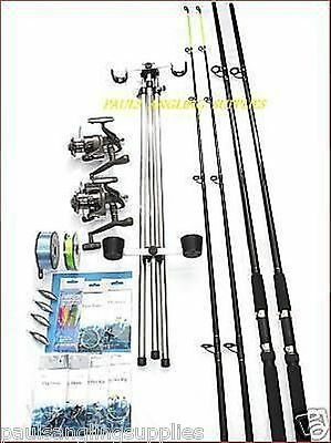 Sea Fishing Beachcaster Kit *14 FT* Rods Reels Tripod Weights Tackle Rigs