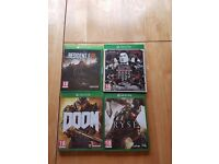 Xbox 1 games package including Resident Evil Biohazard, doom, sleeping dogs and ryse