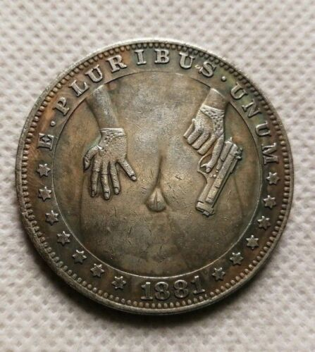 Hobo Coin sexy  Behind naked girl with Gun (DASH) COPPER MORGAN