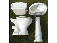 Bathroom Suite including Sink / Taps / Pedestal / W.C & Cistern / Seat