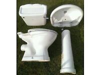 Bathroom Suite including Sink / Taps / Pedestal / W.C & Cistern / Seat