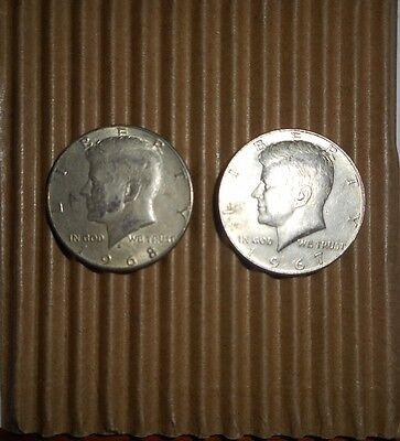 KENNEDY HALF DOLLAR LOT 1965-1969 RANDOM DRAW ( 2 COINS) 40% SILVER   LT2322