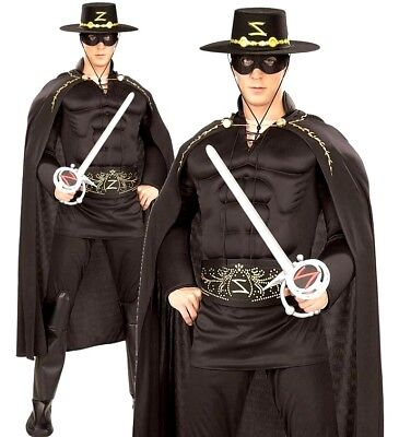 Adult DELUXE Mask of ZORRO Fancy Dress Costume Muscle Chest Film TV Super