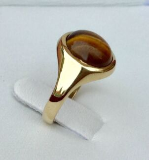Genuine Solid 9ct 375 Yellow Gold Tigers Eye Vintage English Ring