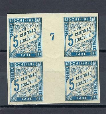 France 1894 French Colonies Sc J15 Imperf Postage Due Gutter Block 4 MNH - $7.99