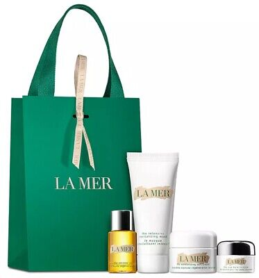 La Mer 4pc Set- Soft Cream, Eye Balm Intense, Renewal Oil, Revitalizing Mask
