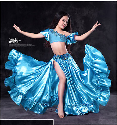 Kids Girls Belly Dance Costume Outfits Bollywood Carnival 2PCS(Top,Skirt)  S M L ()