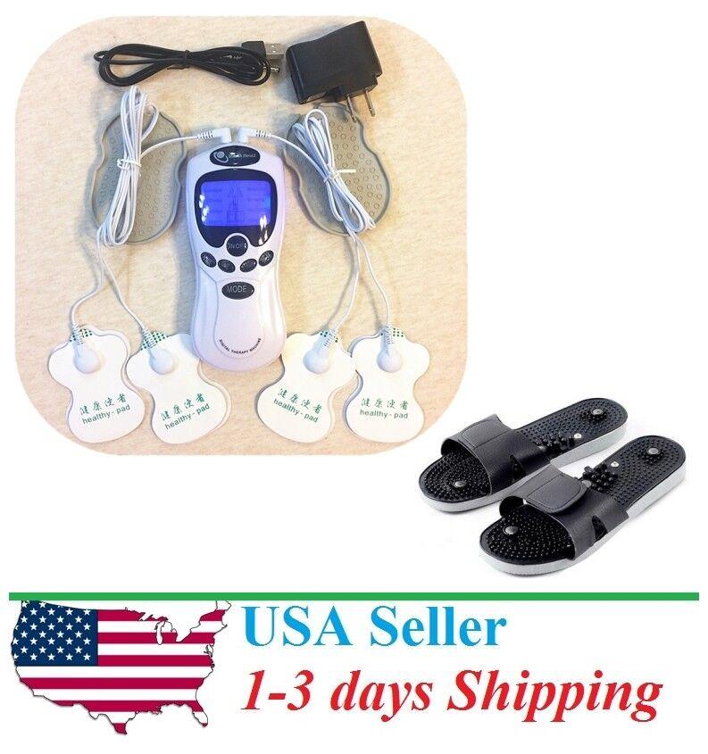 Tens Unit Massager Muscle Full Body Pain Relief Pulse Stimulator Plus Shoes Combination