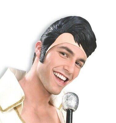 ELVIS RUBBER MASK Sideburns Fake Black Latex Hair Wig Presley Funny Adult Hat (Latex Hat)