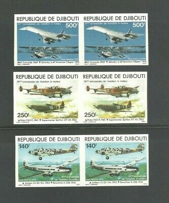 Djibouti 1979 Imperforated Uncut Pairs Airmail Stamp Sc C124 - C126 MNH Aviation