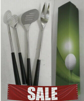 BBQ TOOLS SET UTENSILS PCS STAINLESS STEEL GOLF KITCHEN TONGS & SPATULA & FORK