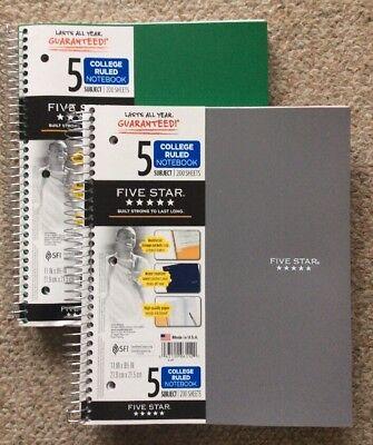 Mead 06208 Notebook 5-subject8-pocket 200 Shts 11x8-12 Asst 2 Pack