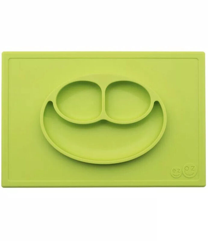 EZPZ Happy Mat green Placemat Non-Slip Silicone Baby Toddler Plate