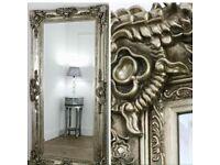 Huge Ornate champagne silver mirror