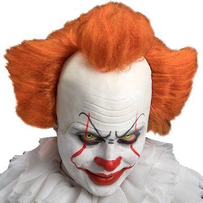 ★ Halloween Horror Deluxe Clown Zirkus Latex Halb Es Maske Haaren Evil,Pennywise Deluxe Latex Maske
