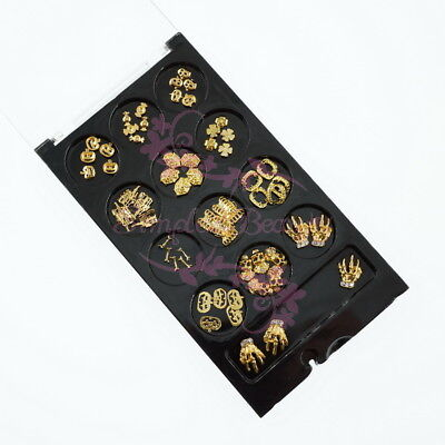 Gold Tone Alloy Charms Halloween Series 3D Salon Acrylic Nail Art Manicure - 3d Halloween Acrylic Nails
