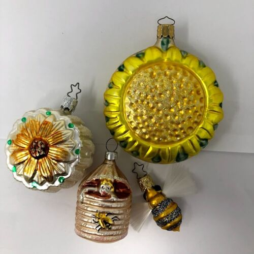 German Blown Glass Sunflower Beehive Bee Christmas Ornament Lot