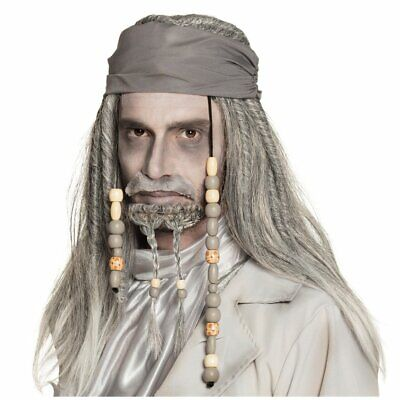 Ghost Pirate Long Wig Moustache and Beard Grey Fancy Dress Adult One Size - Grey Moustache And Wig