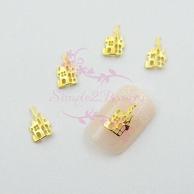 100 Hollow Design Halloween House Alloy Charms Gold Tone Nail Art Manicure Decor - Design Nails Halloween